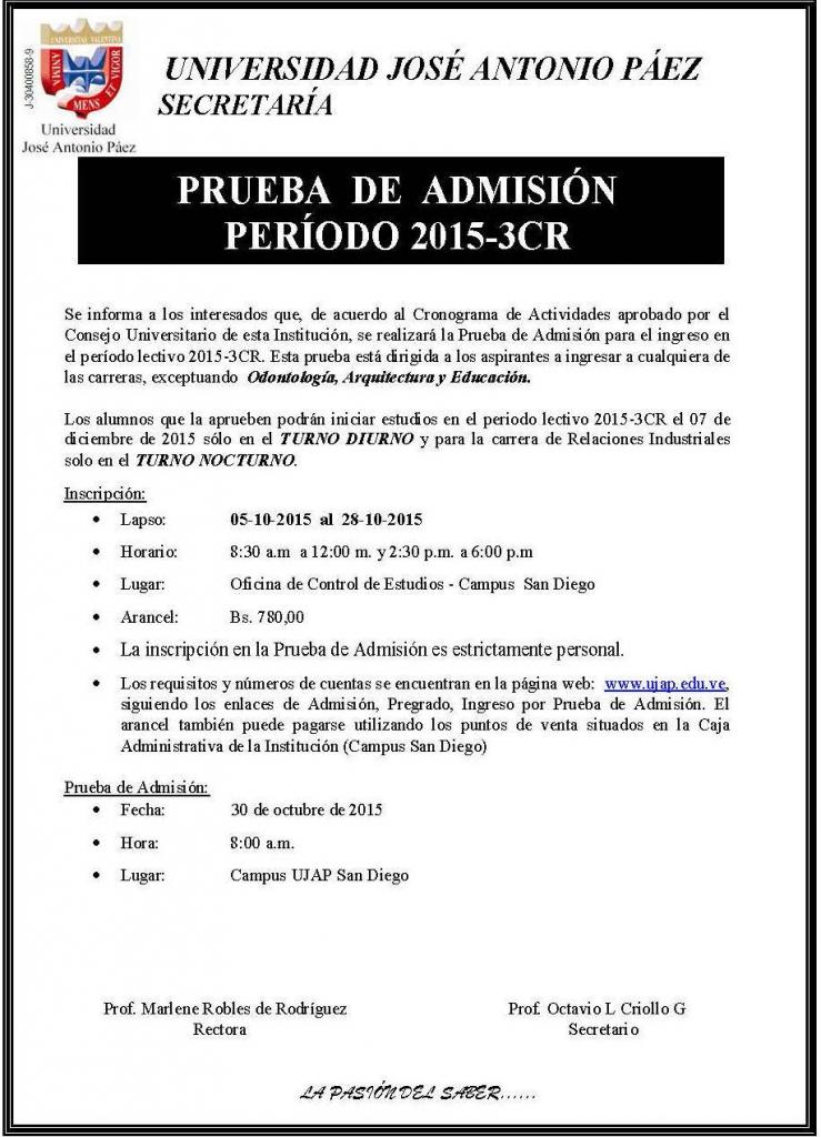 Prueba de Admisión 2015-3CR - Aviso Prensa(FILEminimizer)