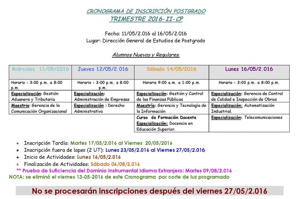 CRONOGRAMA DE INSCRIPCIÓN POSTGRADO 2016