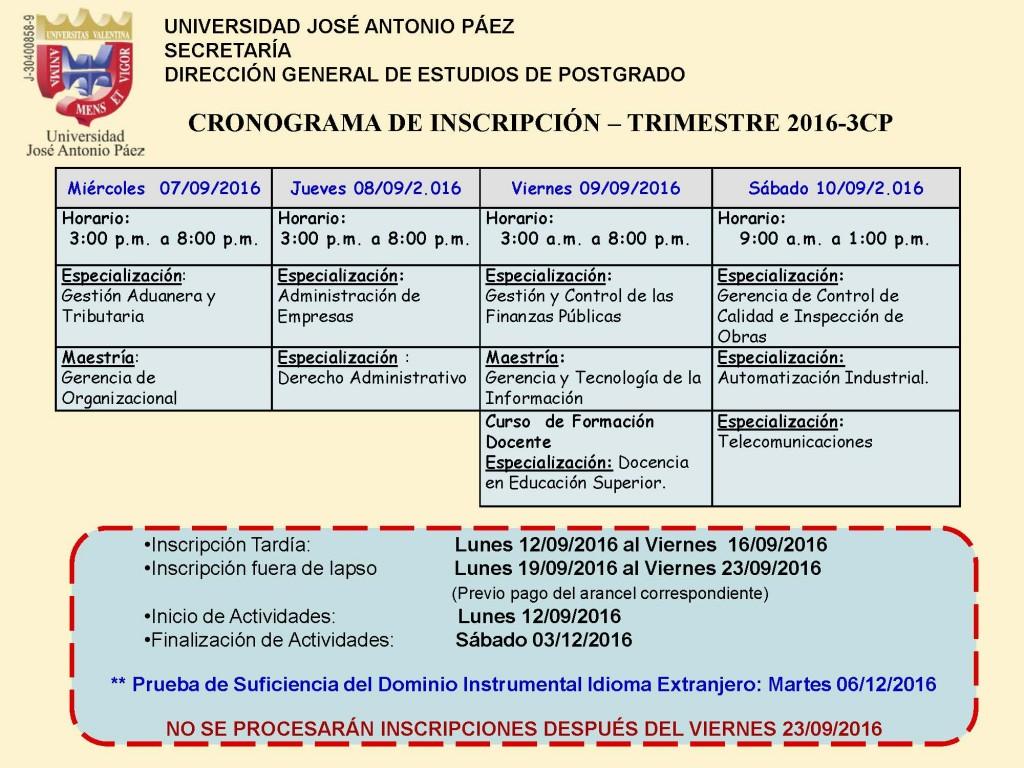 POSTGRADO CRONOGRAMA TRIMESTRE 2016-3CP